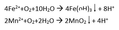 هاودهی آهن و منگنز واکنش با اکسیژن اکسیداسیون Fe Mn