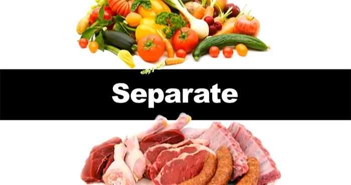 جداسازی مواد غذایی خام و پخته شده جداسازی گوشت از سبزیجات و میوه جات